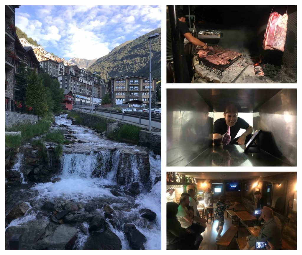 Andorra collection, clockwise from left: the stream by our hotel; the meat being cooked at dinner; a chef I met through the medium of a tunnel into the kitchen; and drunken karaoke butchery