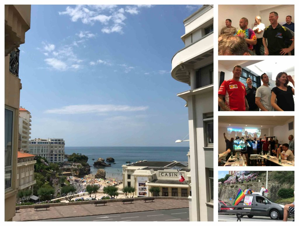 Biarritz collection, clockwise from left: view from hotel; crowd at awards ceremony (x2); Finns being Finnish; Biarritz Gay Pride march